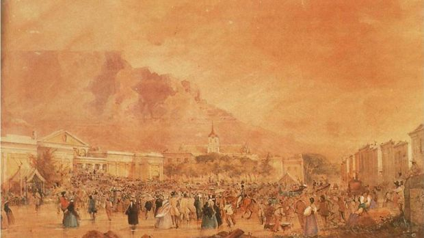 Public Protest at Cape Town, July 4th, 1849. Painting by Thomas Bowler