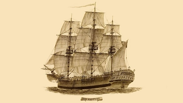 Drawing of the penal transportation ship Neptune. Image: Wikicommons