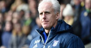 Ipswich Town manager Mick McCarthy pictured  during the game against Norwich at Carrow Road on Sunday. Photograph:  Joe Giddens/PA Wire