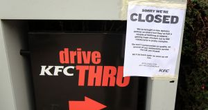 A closed sign outside a KFC restaurant near Ashford, Kent. The acute shortage closed two-thirds of KFC's 900 restaurants. Photograph: Gareth Fuller/PA