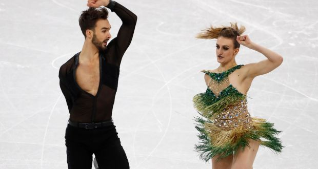41b3815dc863c Guillaume Cizeron and Gabriella Papadakis of France perform during Monday's  ice dance short dance at the