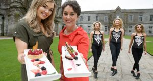 TG4 weather presenter Cáitlín Nic Aoidh and Margaret Jeffares of Good Food Ireland  with Hession school of dance performers Ruth Fallon, Eve Sheridan and Anna Sheil. Photograph: Andrew Downes/Xposure