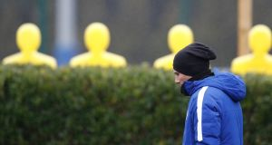 Chelsea's coach Antonio Conte in a  thoughtful mood during a training session at the club's s Cobham facility on Monday. Photograph: Adrian Dennis/afp/Getty Images