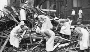 Nurses sort through the rubble of a damaged hospital after being bombed by Nazi airmen during raids on London. A new play by Maureen Alcorn tells the story of two Irish nurses rewarded for their heroic efforts during the Blitz. Photograph: Hulton-Deutsch Collection/Corbis via Getty Images