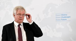 "UK Brexit secretary David Davis: ""We are a leading proponent of the rules based international system,"" he told an audience in Vienna. Photograph:  Roland Schlager/EPA"