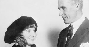 Opening in Hollywood in 1922, Gerard O'Donovan's 'The Long Silence'  is a mystery centring on the death of Irish film director William Taylor, seen above with   Mary Miles Minter, diminutive screen star whose love notes to Taylor caused a sensation when they were found.