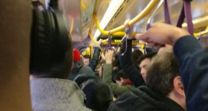 Inside the Green Line service to Sandyford on Tuesday morning at approximately 8.15am. The picture was taken and posted on Twitter by @mahooneys who said passengers could not get on the tram at most stops past Charlemont