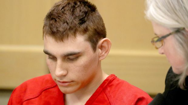 Florida school shooting Nikolas Cruz suspect in Broward circuit court, Fort Lauderdale, Florida on Monday. Photograph: Mike Stocker/EPA