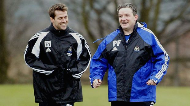 Michael Owen (left) trains with club physio Paul Ferris during a Newcastle United training session on March 17th, 2006 in Newcastle, England. Photograph: Ian Horrocks NUFC via Getty images