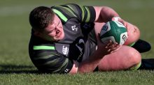 Tadhg Furlong during Ireland training at Carton House ahead of the Six Nations meeting with Wales. Photo: Dan Sheridan /Inpho