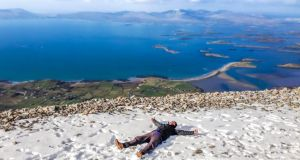 Croagh Patrick: walkers who get clear weather can have spectacular views over Clew Bay. Photograph: Moment/Getty