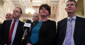 DUP leader Arlene Foster at  a Stormont news conference  on February 12th. How do you negotiate with people who can't do a deal even when they have got by far the most out of the negotiations? Photograph:  Reuters