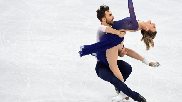 France's Gabriella Papadakis and Guillaume Cizeron compete in the ice dance free dance at the Gangneung Ice Arena. Photograph: Roberto Schmidt/AFP/Getty Images