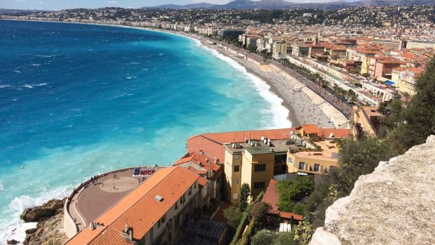 The bay of Nice and the Promenade des Anglais