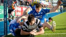 Roscrea's Jay Culleton scores a try in the Bank of Ireland Leinster Schools Senior Cup quarter-final against St Mary's College at Donnybrook Stadium. Photograph: Oisín Keniry/Inpho