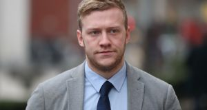 Ireland and Ulster rugby player Stuart Olding arrives at Belfast Crown Court on February 5th: Photograph: Niall Carson/PA
