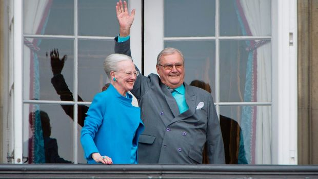Danish Queen Margrethe and Prince Henrik greeting well-wishers from the balcony on the occasion of the Queen's 76th Birthday celebration at Amalienborg Palace in Copenhagen in 2016. Photograph: Marie Hald/Getty Images