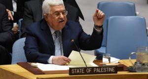 Palestinian leader Mahmud Abbas: called for an international Middle East peace conference to be convened later this year. Photograph:  Timothy A Clary/Getty Images