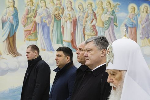 MAIDAN MEMORIES: Ukrainian president Petro Poroshenko (second right) and prime minister Volodymyr Groysman (second left) at a service in memory of those killed during the pro-western Maidan protests in 2014 in Kiev, Ukraine. Photograph: Mikhail Palinchak/Ukrainian Presidential Press Service/Reuters