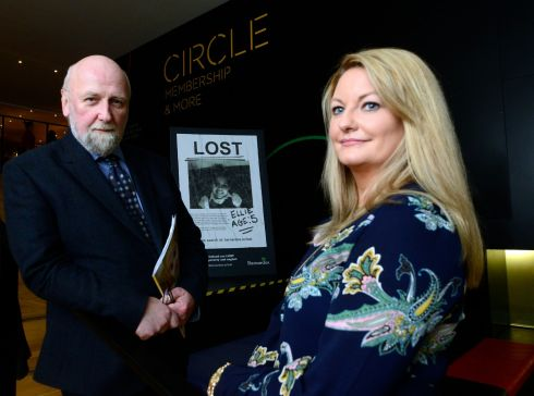 LOST CHILDREN: Barnardos chief executive Fergus Finlay with scoliosis activist Claire Cahill at the launch of the new Lost Children campaign. Photograph: Cyril Byrne/The Irish Times