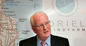 Brian Britton at a press conference during  his time at Oriel Windfarm Ltd.  Photograph: Patrick Bolger Photography