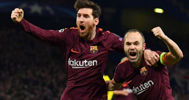 7549303d9 Lionel Messi celebrates scoring Barcelona s equaliser with team-mate Andres  Iniesta in the Champions League
