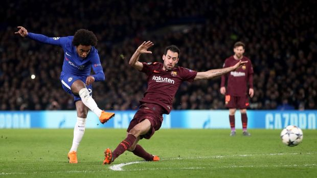 Willian scores the opening goal in the Champions League round of 16 first leg against Barcelona at Stamford Bridge. Photograph: Adam Davy/PA Wire