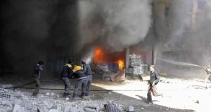 Intense Syrian government shelling and airstrikes of rebel-held Damascus suburbs have killed at least 250 people in recent days. Photograph: AP