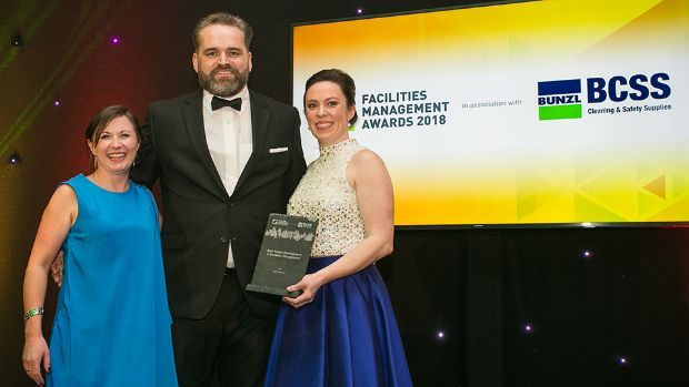 Mark Keeley, Target Market Manager, KÄRCHER, presents the Best People Development in Facilities Management award to Rosanne Edger and Kate Connellan, ISS Ireland