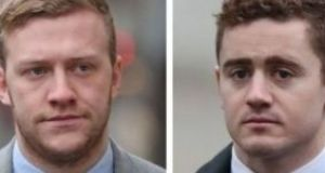 Stuart Olding (left) and Paddy Jackson are charged with rape. Photograph: Niall Carson/PA