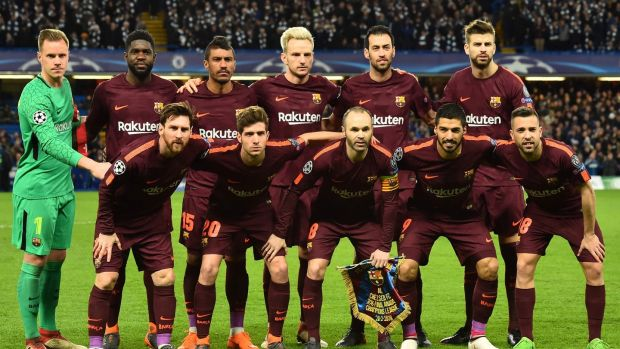 The Barcelona team who drew in London on Tuesday is largely made up with players who came through the club ranks. Photograph: Getty Images