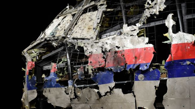 The wrecked cockpit of the Malaysia Airlines flight MH17 which was shot down over the Ukraine in 2015. Photograph: Emmanuel Dunand/AFP/Getty Images