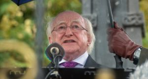 "President Michael D Higgins  at the Béal na Bláth commemoration in   2016. Speaking of the upcoming anniversaries, he said: ""We will need to display courage and honesty as we seek to speak the truth of the period, and in recognising that, during the War of Independence, and particularly during the Civil War, no single side had the monopoly of either atrocity or virtue."" Photograph: Michael Mac Sweeney/Provision"