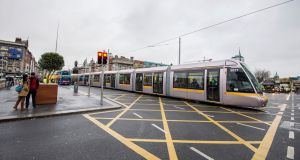 The Luas number 5027, a 55 metre tram photographed on O'Connell Bridge blocking traffic recently. Photograph: Brenda Fitzsimons