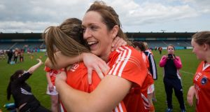 Caroline O'Hanlon is now in her 17th season with the Armagh women's Gaelic football team. Photograph: Ryan Byrne/Inpho