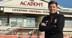 Liverpool under-19 coach Steven Gerrard. Photograph:  Andrew Powell/Liverpool Football Club/PA Wire
