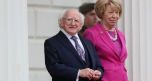 President Michael D Higgins and his wife, Sabina, await the arrival of the Italian president, at Áras an Uachtaráin earlier this month. Photograph: Brian Lawless/PA Wire