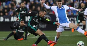 Real Madrid's Lucas Vazquez scores their first goal in the  La Liga match against  Leganes at Butarque Municipal Stadium. Photograph: Susana Vera/Reuters