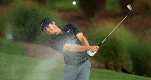 Rory McIlroy  plays a bunker shot  during the  pro-am for the Honda Classic  in Palm Beach Gardens, Florida. Photograph: Mike Ehrmann/Getty Images