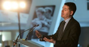 Minister for Finance  Paschal Donohoe  speaking at Wednesday's conference, which was held at Croke Park, Dublin. Photograph: Dara Mac Dónaill
