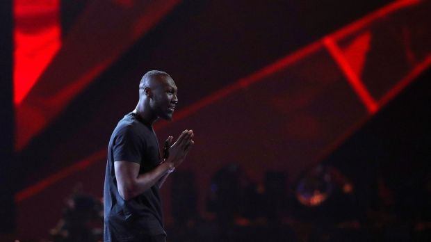 Stormzy accepts the award for British album at the Brit Awards at the O2 Arena in London. The grime artist also won best British male artist. Photograph: Hannah McKay/Reuters