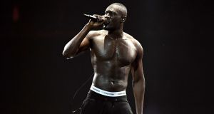 Stormzy performs at The Brit Awards 2018 held at The O2 Arena in London. The grime artist won British male solo artist and British album. Photograph:   Gareth Cattermole/Getty Images