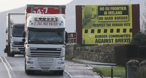A truck passes a Brexit billboard in Jonesborough, Co Armagh, on the northern side of the Border between Northern Ireland and the Republic. Photograph: PA Wire