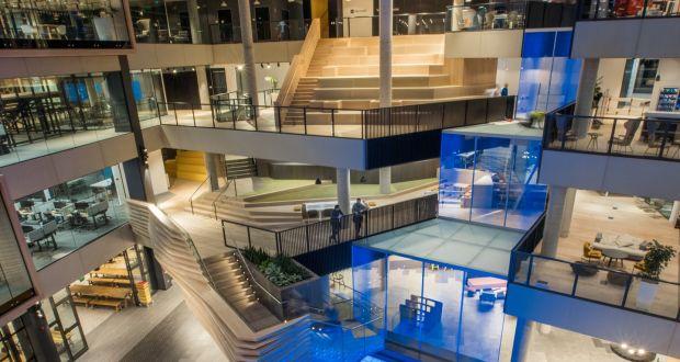 inside microsoft s new dublin home an led waterfall a digital lake