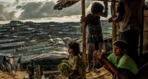 "A Rohingya family's makeshift tent in the Balukhali refugee camp in Bangladesh, in September 2017. Amnesty International said the international community had failed to respond robustly to ""crimes against humanity and war crimes from Myanmar to Iraq, South Sudan, Syria and Yemen"". Photograph:  Tomas Munita/The New York Times"