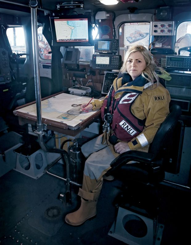 "Lifeboat navigator Lisa Levins-Burgess: ""My philosophy has always been, if the lads can do it, I can do it."" Photograph: Beta Bajgart"