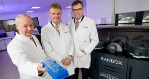 At the launch of Randox's expansion plan were Dr Peter FitzGerald, managing director of Randox Laboratories, Sir John Bell, chairman of the UK government's Life Sciences Industrial Strategy Board and Alastair Hamilton, chief executive of Invest NI