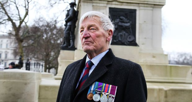 """Dennis Hutchings at a Horseguards parade in London on February 3th. """"The Northern Ireland government and the legacy department of the PSNI is hounding servicemen because they're easier than chasing terrorists."""" Photograph: Joanne O'Brien"""