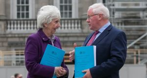 Vice-chair Maureen O'Sullivan TD and  chairman Brendan Smith TD during a report launch  of the Irish Aid Programme by the Joint Committee on Foreign Affairs and Trade and Defence at Leinster House, Dublin. Photograph: Gareth Chaney/Collins