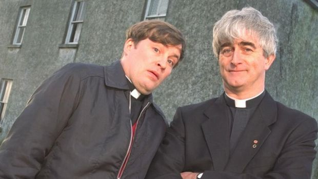 Craggy Island: Demot Morgan with Ardal O'Hanlon in Father Ted. Photograph: Channel 4
